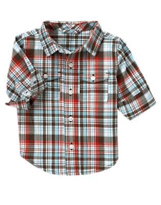 Air Blue Plaid Plaid Half Cuff Shirt by Gymboree