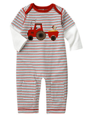 Baby Tomato Red Stripe Tractor Stripe Double Sleeve One-Piece by Gymboree