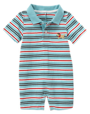Baby Air Blue Stripe Stripe Polo Short One-Piece by Gymboree
