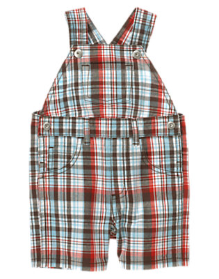 Air Blue Plaid Plaid Overall by Gymboree