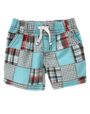 Baby Air Blue Patchwork Patchwork Short by Gymboree