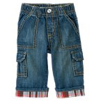 Plaid Cuff Denim Cargo Pant