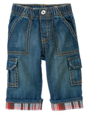 Denim Plaid Cuff Denim Cargo Pant by Gymboree