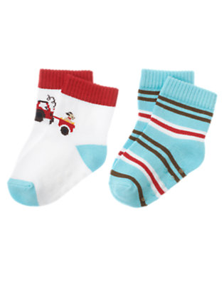 White/Air Blue Stripe Tractor Stripe Sock Two-Pack by Gymboree
