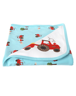 Baby Air Blue Tractor Blanket by Gymboree