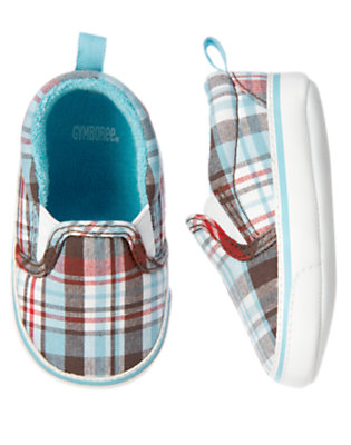 Baby Air Blue Plaid Plaid Sneaker Crib Shoe by Gymboree