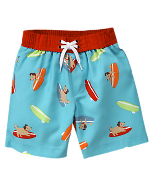 Baby Air Blue Surf Dog Swim Trunk by Gymboree