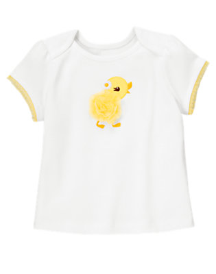 White Duckling Rosette Tee by Gymboree