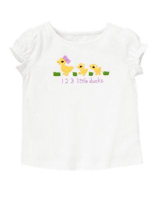 White Three Little Ducks Tee by Gymboree