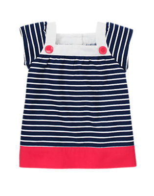 Nautical Blue Stripe Button Stripe Top by Gymboree