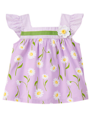 Toddler Girls Purple Daisy Button Daisy Mixed Print Top by Gymboree