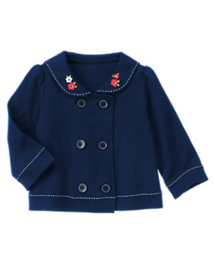 Nautical Navy Flower Double Button Sailor Cardigan by Gymboree