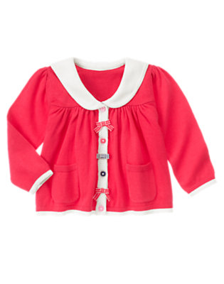 Toddler Girls Poppy Pink Bow Sailor Sweater Cardigan by Gymboree