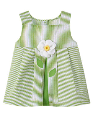 Toddler Girls Spring Green Button Daisy Stripe Seersucker Top by Gymboree