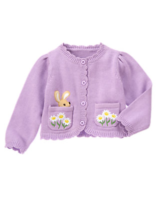 Toddler Girls Purple Posy Bunny Daisy Pocket Sweater Cardigan by Gymboree