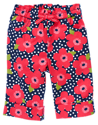 Navy Dot Flower Bow Flower Cuffed Pant by Gymboree
