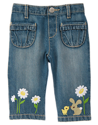 Denim Daisy Bunny Ruffle Pocket Jean by Gymboree