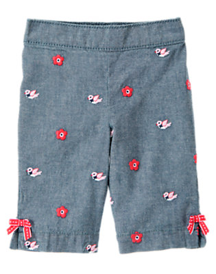 Toddler Girls Chambray Bird Flower Chambray Pant by Gymboree