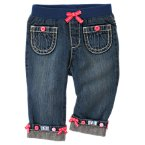 Button Bow Cuffed Jean