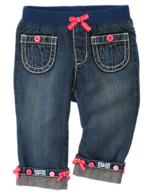 Denim Button Bow Cuffed Jean by Gymboree
