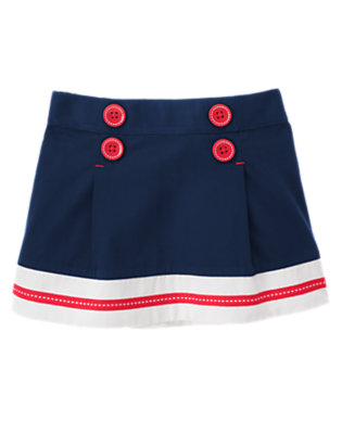 Toddler Girls Nautical Navy Button Pleated Sailor Skirt by Gymboree
