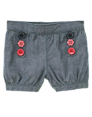Chambray Flower Button Chambray Short by Gymboree