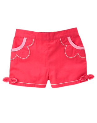 Toddler Girls Poppy Pink Bow Flower Short by Gymboree