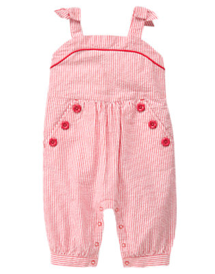 Toddler Girls Soft Poppy Pink Stripe Button Stripe Seersucker Overall by Gymboree
