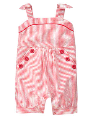 Toddler Girls Soft Poppy Pink Stripe Button Stripe Seersucker Shortall by Gymboree