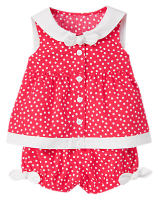 Toddler Girls Poppy Pink Dot Bow Dot Sailor Collar Two-Piece Set by Gymboree