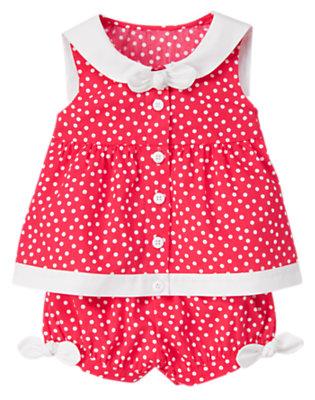 Toddler Girls Poppy Pink Dot Bow Dot Sailor Collar Two-Piece Set by Gymboree