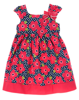 Toddler Girls Navy Dot Flower Bow Flower Dot Dress by Gymboree