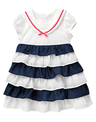 Toddler Girls Nautical Navy/White Ruffle Sailor Dress by Gymboree