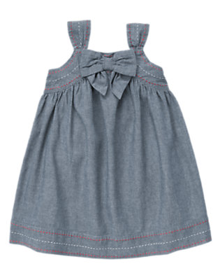Toddler Girls Chambray Bow Pickstitched Chambray Dress by Gymboree