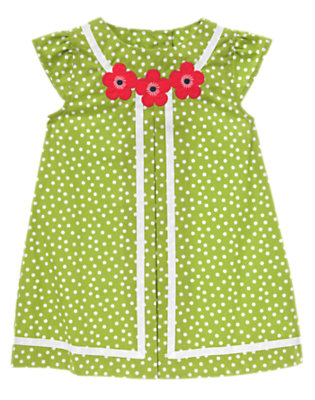 Toddler Girls Leaf Green Dot Flower Ribbon Dot Dress by Gymboree