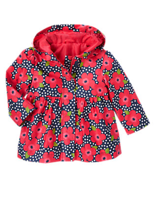 Toddler Girls Navy Dot Flower Flower Dot Hooded Raincoat by Gymboree