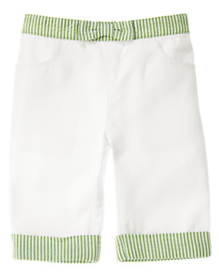 White Stripe Seersucker Cuff Pant by Gymboree