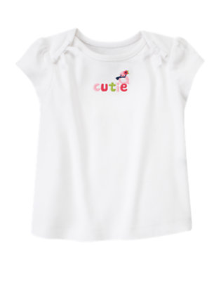 White Bow Cutie Bird Tee by Gymboree
