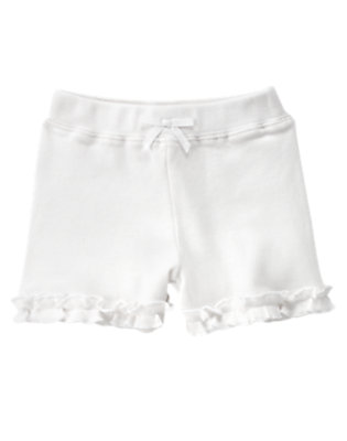 Toddler Girls White Ruffle Bow Short by Gymboree