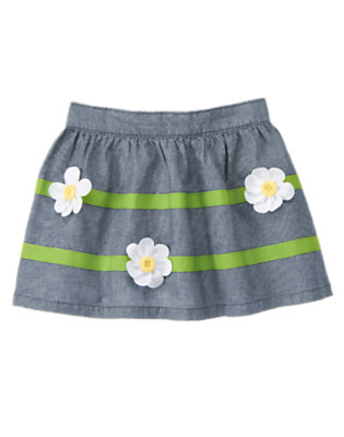 Toddler Girls Chambray Button Daisy Chambray Skirt by Gymboree