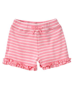 Toddler Girls Spring Pink Ruffle Bow Stripe Short by Gymboree