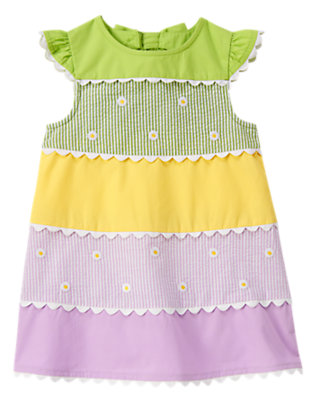 Toddler Girls Spring Green Daisy Ric Rac Mixed Print Dress by Gymboree