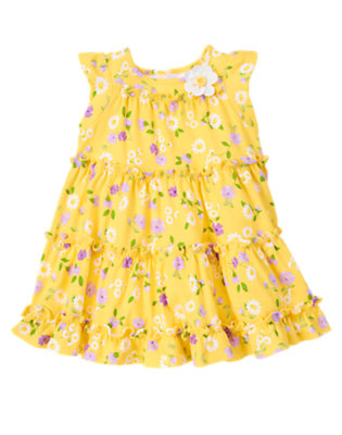 Daisy Yellow Floral Button Daisy Tiered Dress by Gymboree