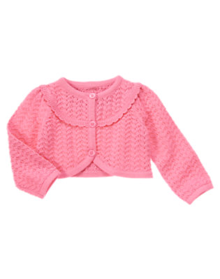 Toddler Girls Peony Pink Pointelle Crop Sweater Cardigan by Gymboree