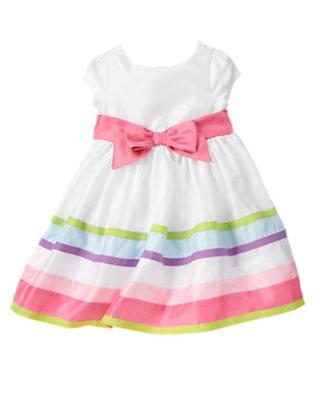 Toddler Girls White Ribbon Stripe Duppioni Dress by Gymboree