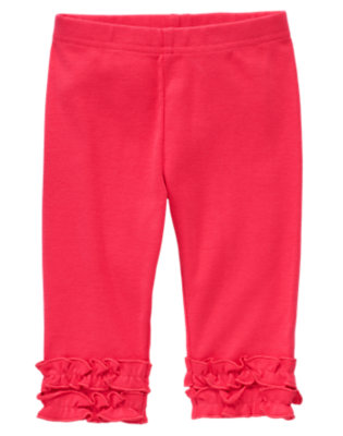 Toddler Girls Poppy Pink Ruffle Capri Legging by Gymboree