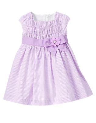 Toddler Girls Purple Posy Flower Bow Stripe Seersucker Dress by Gymboree