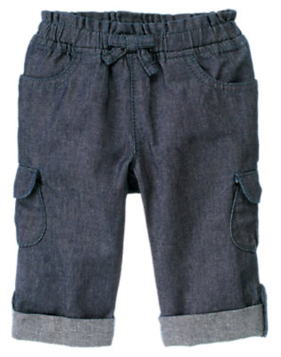 Toddler Girls Chambray Roll Cuff Cargo Chambray Pant by Gymboree