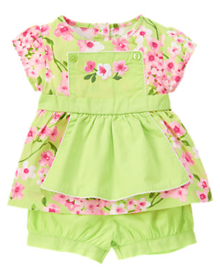 Bright Green Blossom Flower Apron Two-Piece Set by Gymboree