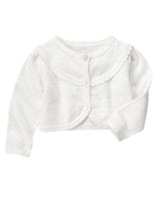 Toddler Girls White Scalloped Crop Sweater Cardigan by Gymboree